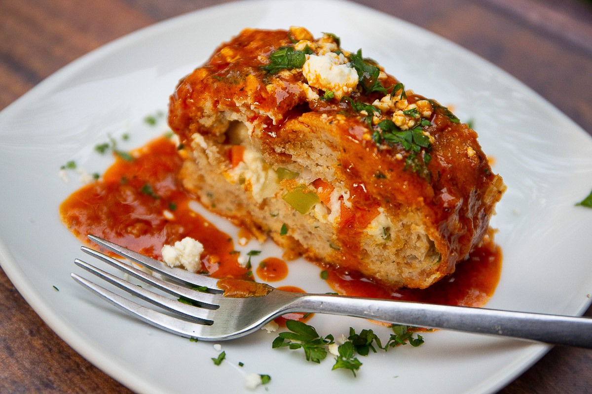 Blue Cheese Stuffed Buffalo Chicken Meatloaf